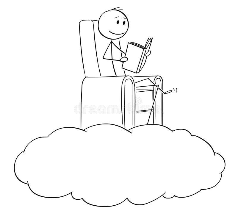 Beeldverhaal van Mens en Escapist die een Boek op een Wolk de lezen royalty-vrije illustratie