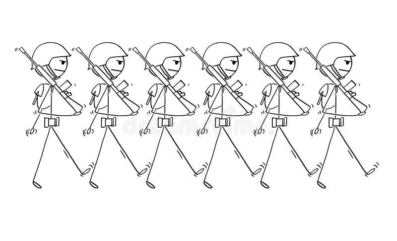 Beeldverhaal van Moderne Militairen die op Parade of binnen aan Oorlog marcheren royalty-vrije illustratie