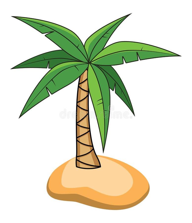 Beeldverhaal van palm op een klein eiland royalty-vrije illustratie