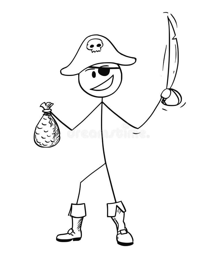 Beeldverhaal van Piraat met Sabel en Zak Goud stock illustratie