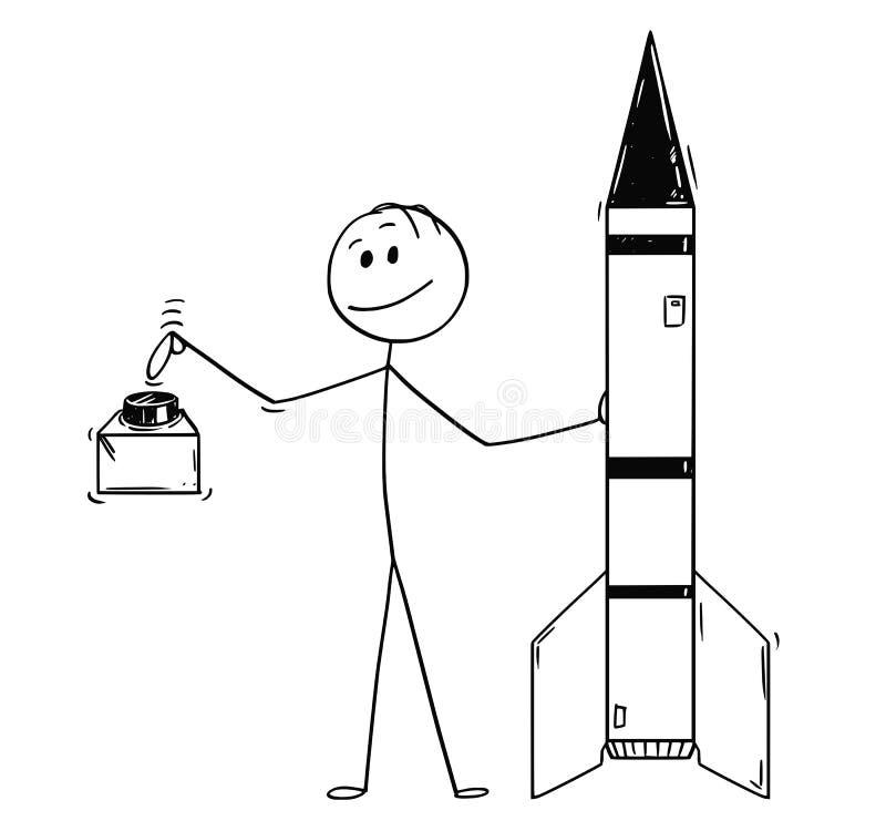 Beeldverhaal van Politicus Leaning op Raket en Klaar om de Rode Knoop te duwen stock illustratie