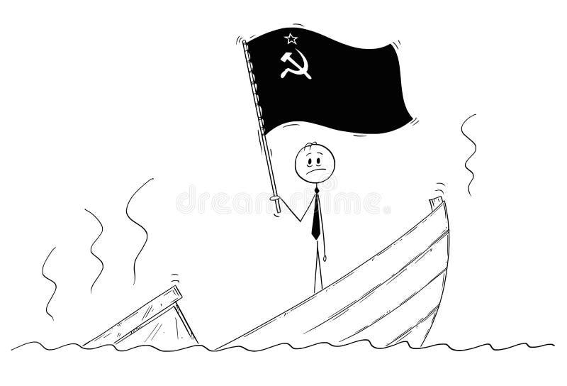Beeldverhaal van Politicus Standing Depressed op Dalende Boot die de Vlag van Sovjetunie golven stock illustratie