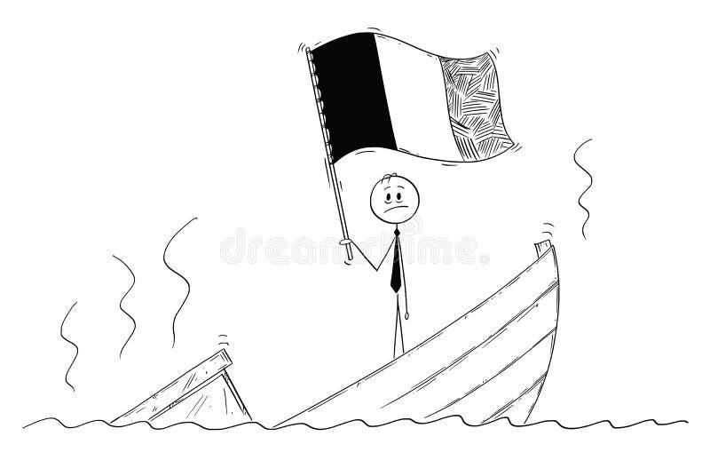 Beeldverhaal van Politicus Standing Depressed op Dalende Boot met Vlag van België of Frankrijk vector illustratie