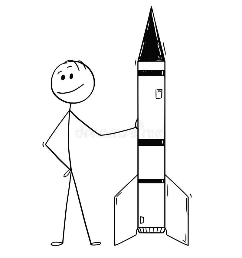 Beeldverhaal van Politicus of Zakenman Leaning op Raket of Militaire Raket royalty-vrije illustratie