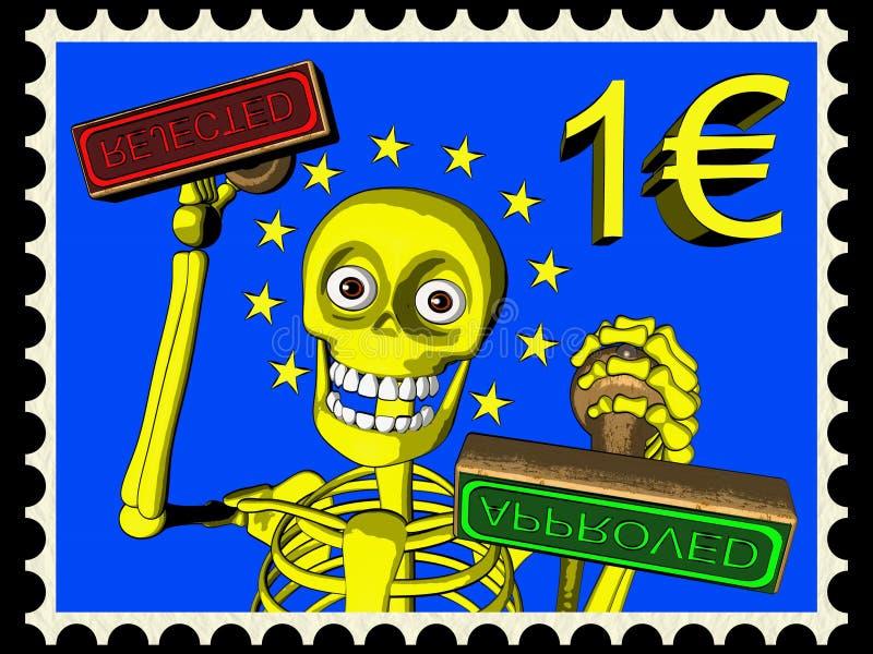 Beeldverhaal van postzegel 1 EURO, bureaucratie in de EU vector illustratie