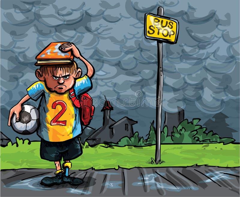 Beeldverhaal van schooljongen dat in de regen wordt gevangen vector illustratie