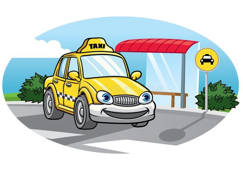 Beeldverhaal van taxiauto stock illustratie
