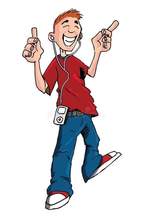 Beeldverhaal van tiener het luisteren aan zijn MP3 speler vector illustratie