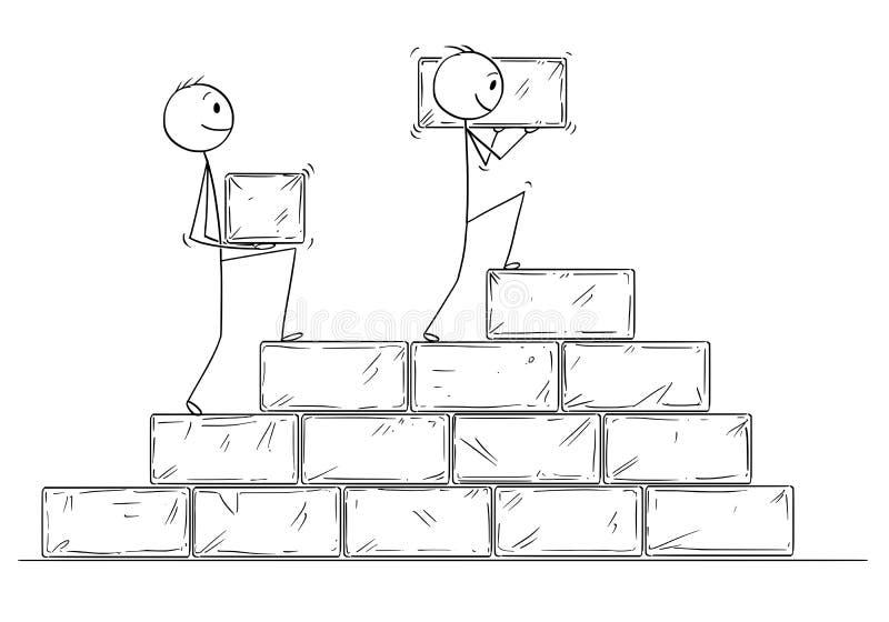Beeldverhaal van Twee Zakenlieden die Trap van Grote Steenblokken bouwen stock illustratie