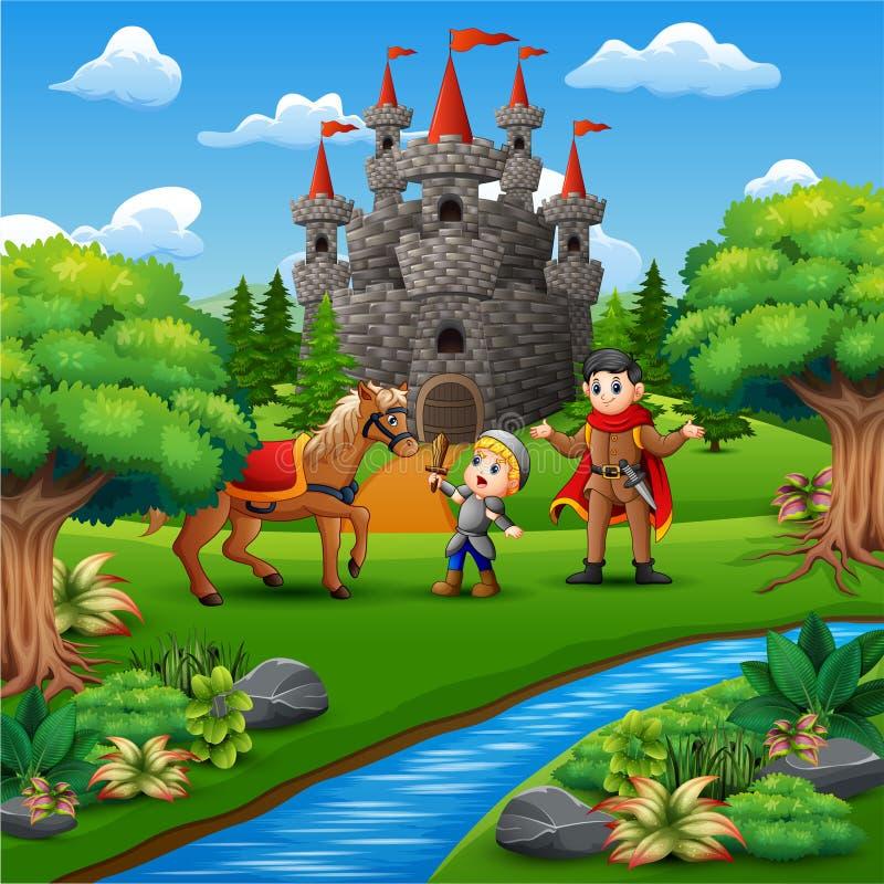 Beeldverhaal van weinig ridder en een prins op de kasteelpagina stock illustratie