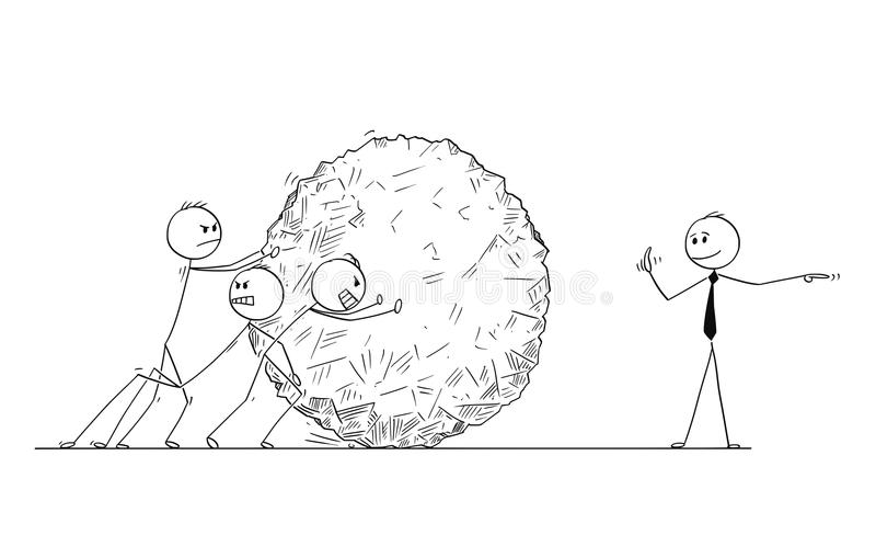 Beeldverhaal van Zaken Team Pushing Big Stone Ball met Manager Giving Orders vector illustratie