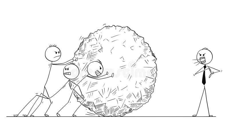 Beeldverhaal van Zaken Team Pushing Big Stone Ball terwijl de Manager schreeuwt royalty-vrije illustratie