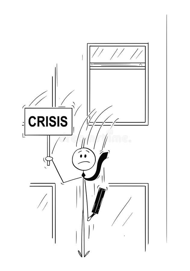 Beeldverhaal van Zakenman of Bankier Jumping Out van het Venster met Crisisteken royalty-vrije illustratie