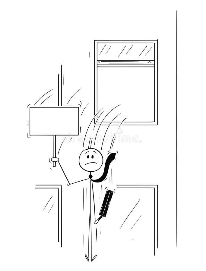 Beeldverhaal van Zakenman of Bankier Jumping Out van het Venster met Leeg Teken stock illustratie