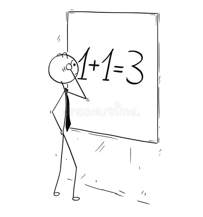 Beeldverhaal van Zakenman Calculating Synergy op Muurraad stock illustratie