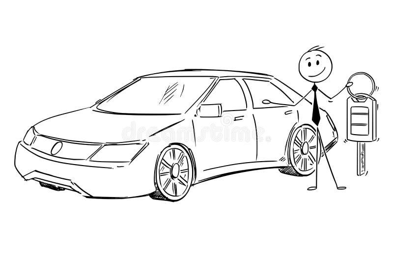 Beeldverhaal van Zakenman of Handelaar of Verkoper Offering Car en Sleutel stock illustratie