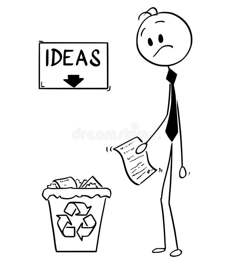 Beeldverhaal van Zakenman With Idea of Uitvinding op Document die op Afvalbak kijken met Ideeën hierboven Teken en Pijl vector illustratie
