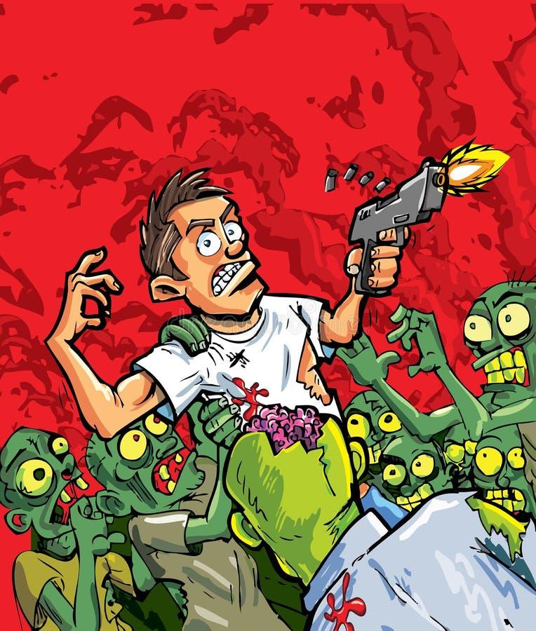 Beeldverhaal van zombieën die een mens met een kanon aanvallen royalty-vrije illustratie