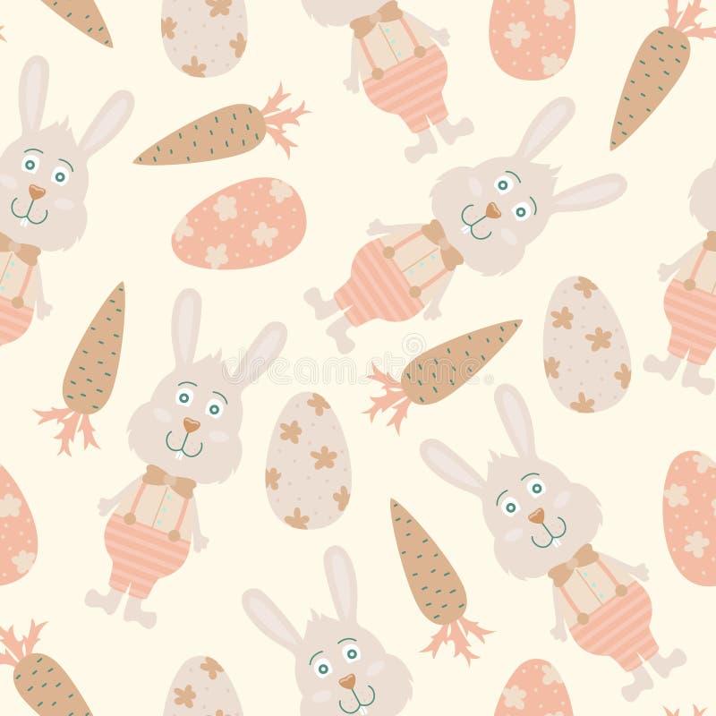 Beeldverhaal vector naadloos patroon met paaseieren en konijntjes Helder Ontwerp Als achtergrond royalty-vrije illustratie