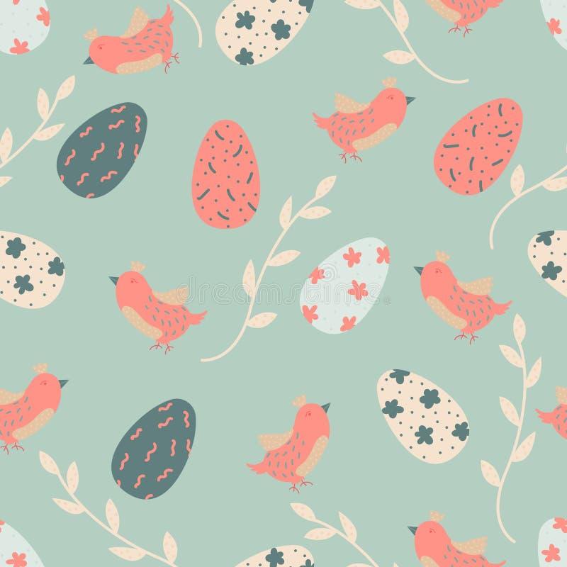 Beeldverhaal vector naadloos patroon met paaseieren en vogels Helder Ontwerp Als achtergrond royalty-vrije illustratie