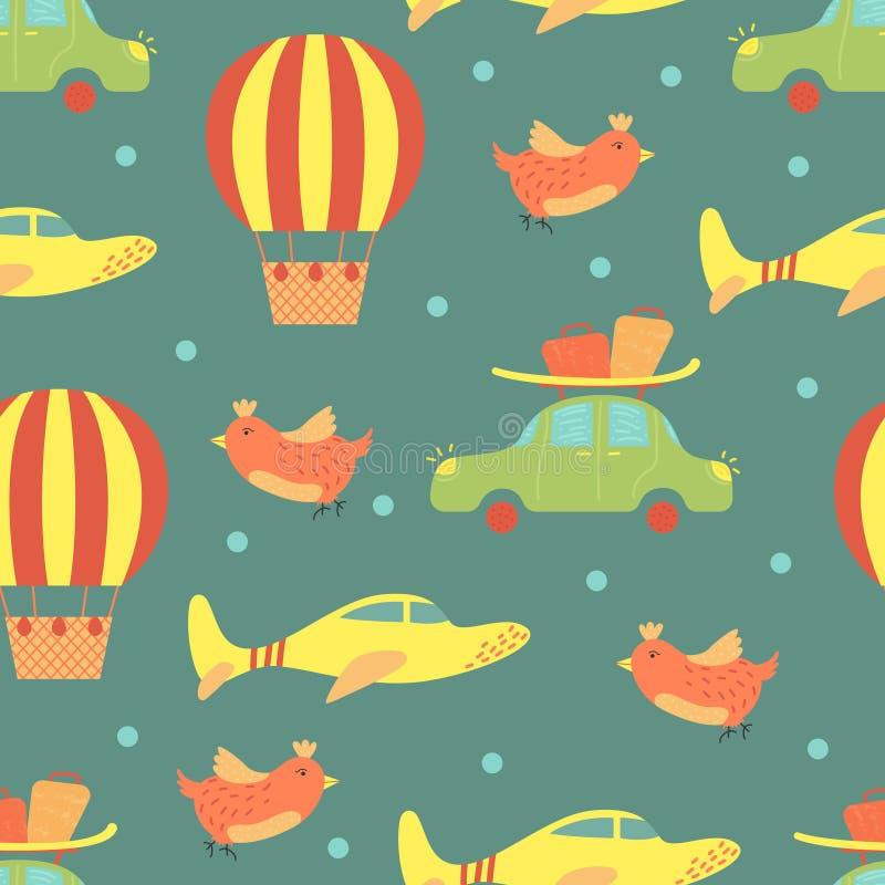 Beeldverhaal vector naadloos patroon met vliegtuigen en luchtballon Helder Ontwerp Als achtergrond Het reizen, reis royalty-vrije illustratie