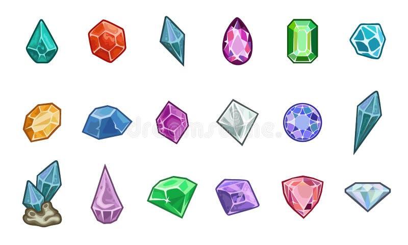 Beeldverhaal vectorgemmen en diamanten