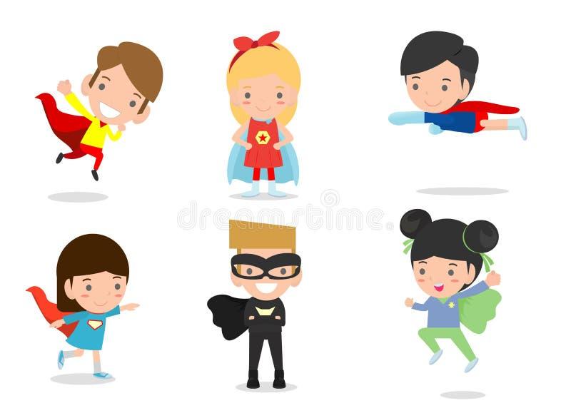Beeldverhaal vectorillustratie die van Jong geitje Superheroes strippaginakostuums, Jonge geitjes met Superhero-geplaatste Kostuu royalty-vrije illustratie