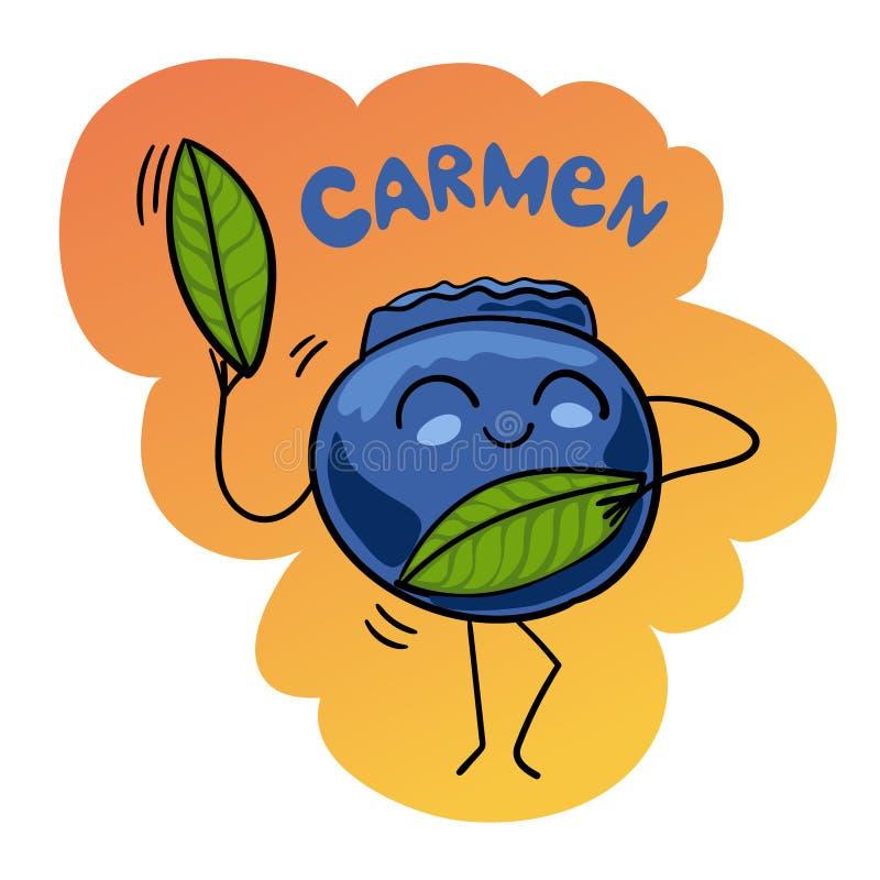 Beeldverhaal Vectorillustratie van de Grappige dans van Bosbessenberry fruits food comic character Carmen royalty-vrije illustratie