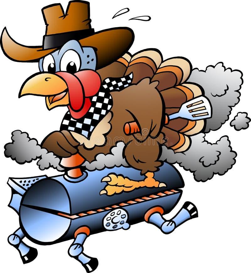 Beeldverhaal Vectorillustratie van een Dankzegging Turkije die een BBQ grillvat berijden stock illustratie