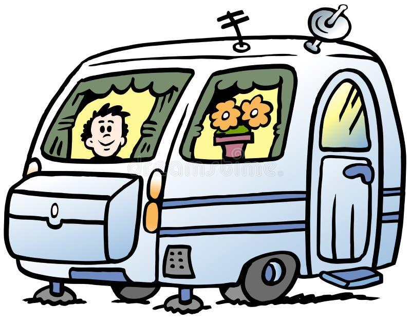 Beeldverhaal Vectorillustratie van een jongen in de caravan klaar voor de vakantie vector illustratie
