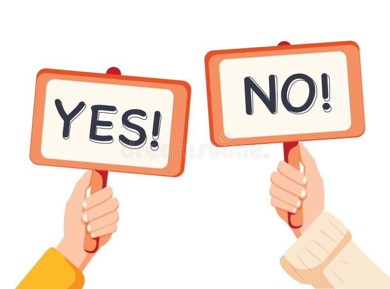 Beeldverhaal vectorillustratie van ja Geen banner in menselijke hand op witte achtergrond De vraag van de test De keus aarzelt, b stock illustratie