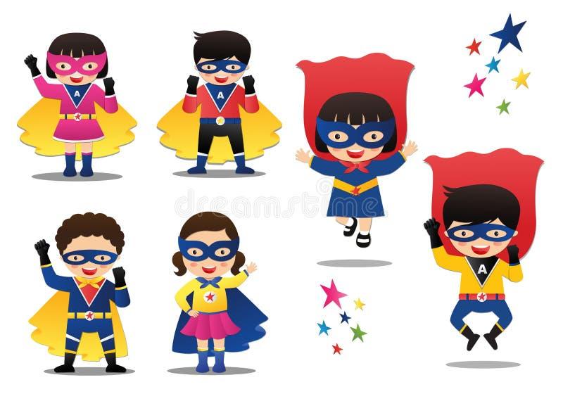 Beeldverhaal vectorillustratie van Superhero-jonge geitjesjongens en meisjes die kleurrijke kostuums dragen vector illustratie