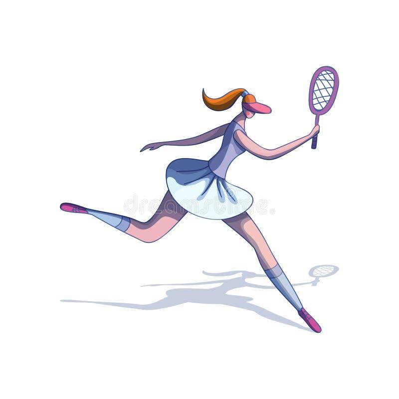 Beeldverhaal vectorontwerp van jong in vrouwen speeltennis Meisje in actie met in hand racket royalty-vrije illustratie