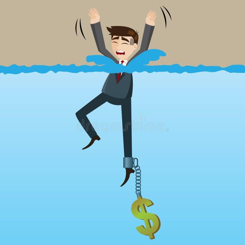 Beeldverhaal verdrinkende zakenman met geldketting op zijn been royalty-vrije illustratie