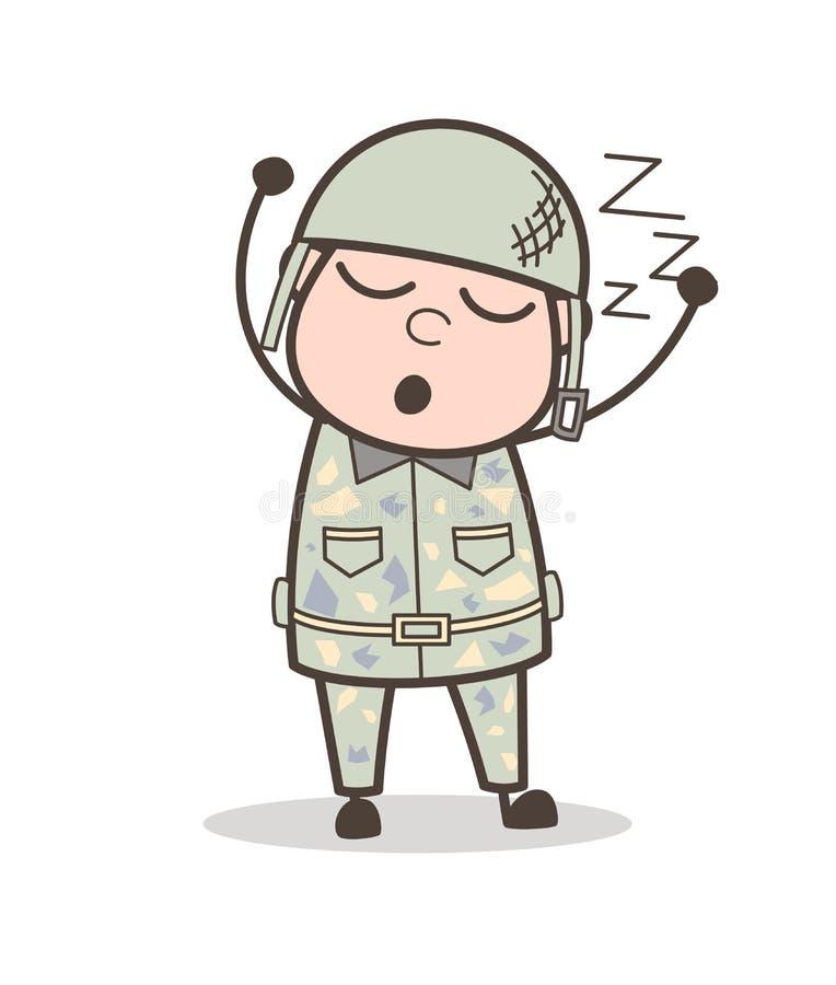 Beeldverhaal Vermoeide Legermens Slaap en het Snurken Vectorillustratie stock illustratie