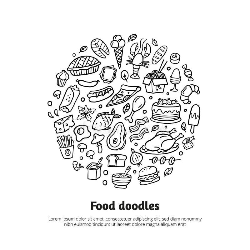 Beeldverhaal verschillende soorten vers voedsel met tekst stock illustratie