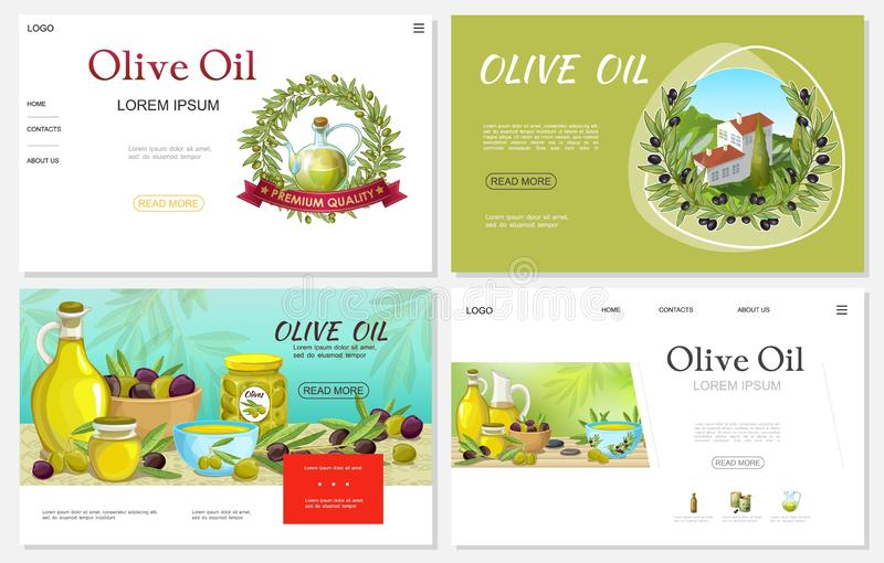 Beeldverhaal Verse Olive Websites Set royalty-vrije illustratie
