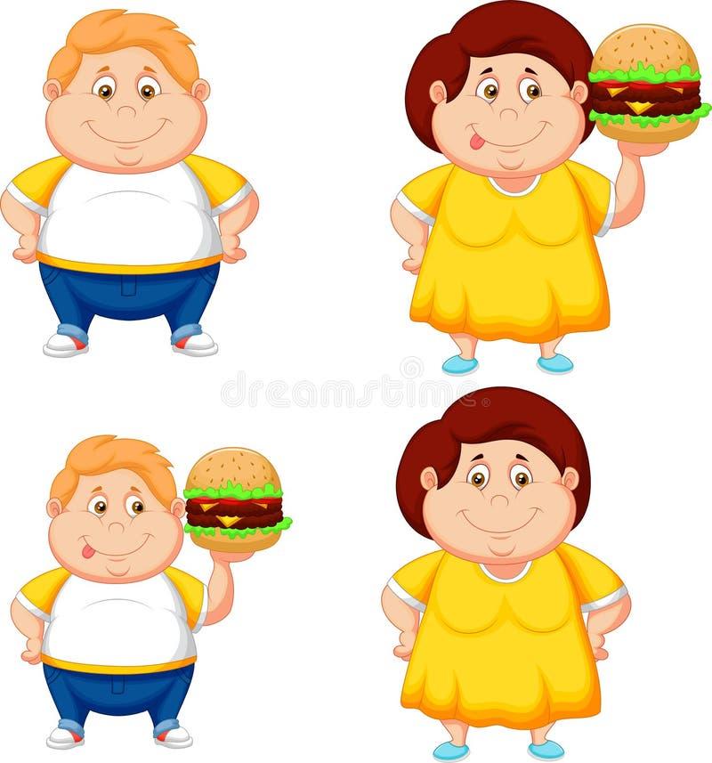 Beeldverhaal vet jongen en meisje met grote hamburger royalty-vrije illustratie
