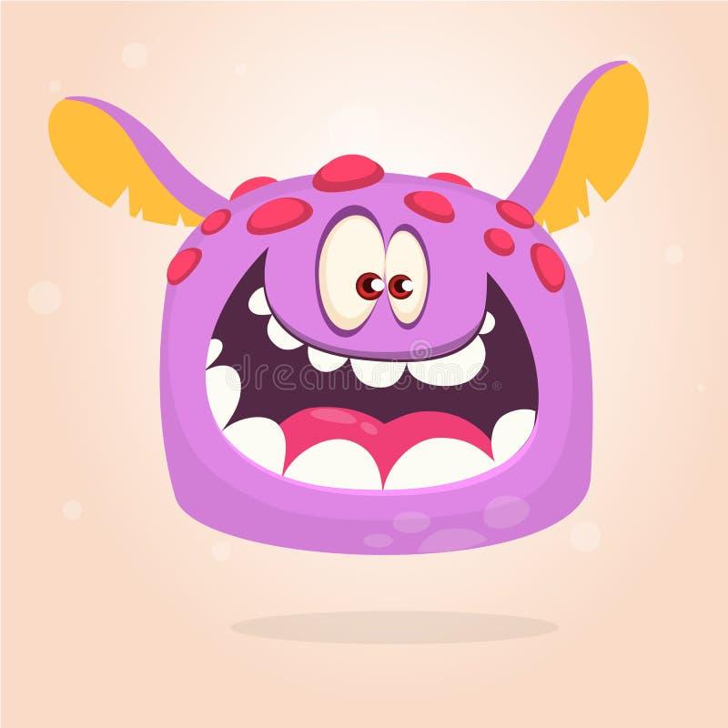 Beeldverhaal vliegend monster Gelukkig violet het monsterhoofd van Halloween met rode punten royalty-vrije illustratie