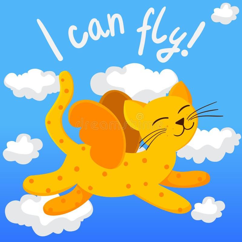 Beeldverhaal vliegende kat met vleugels stock illustratie