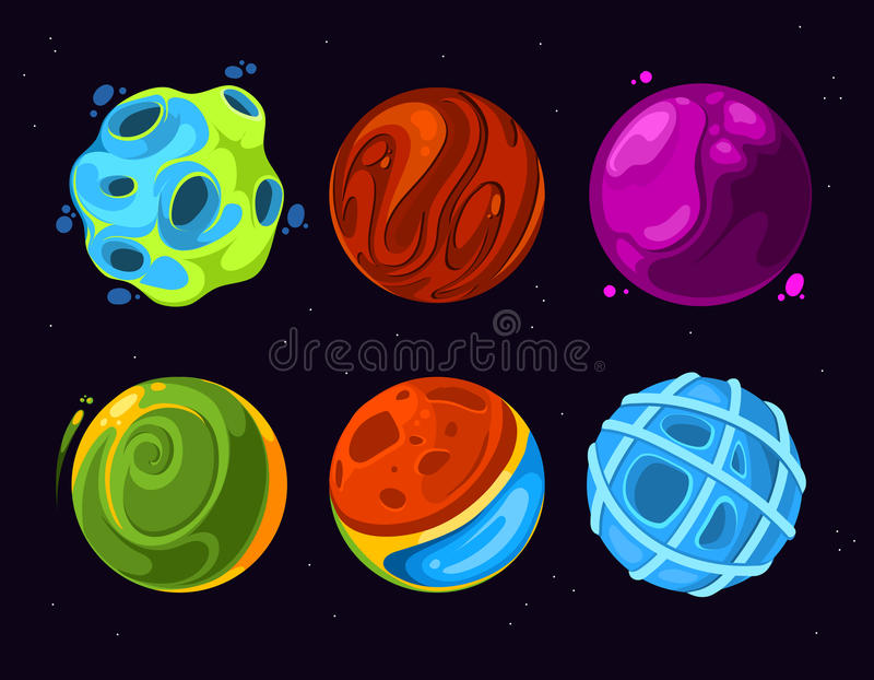 Beeldverhaal vreemde planeten op donkerblauwe sterrige ruimteachtergrond royalty-vrije illustratie