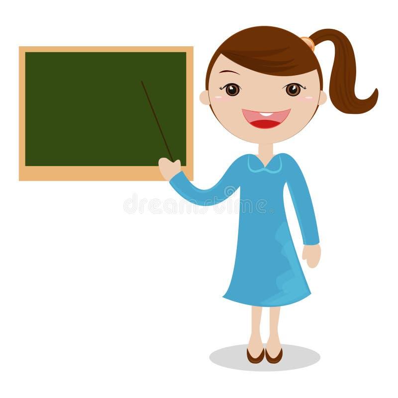 Beeldverhaal vrouwelijke leraar die zich naast een bord bevinden stock afbeelding