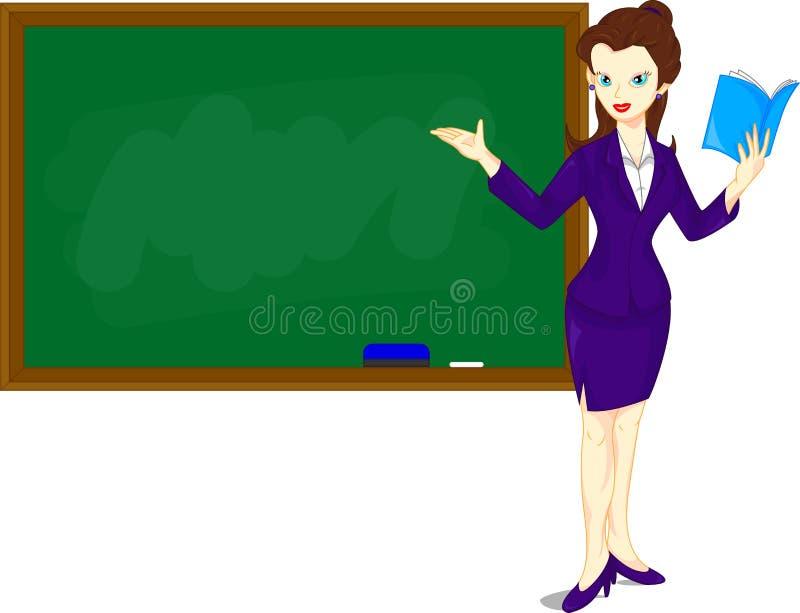 Beeldverhaal vrouwelijke leraar die zich naast een bord bevinden stock illustratie