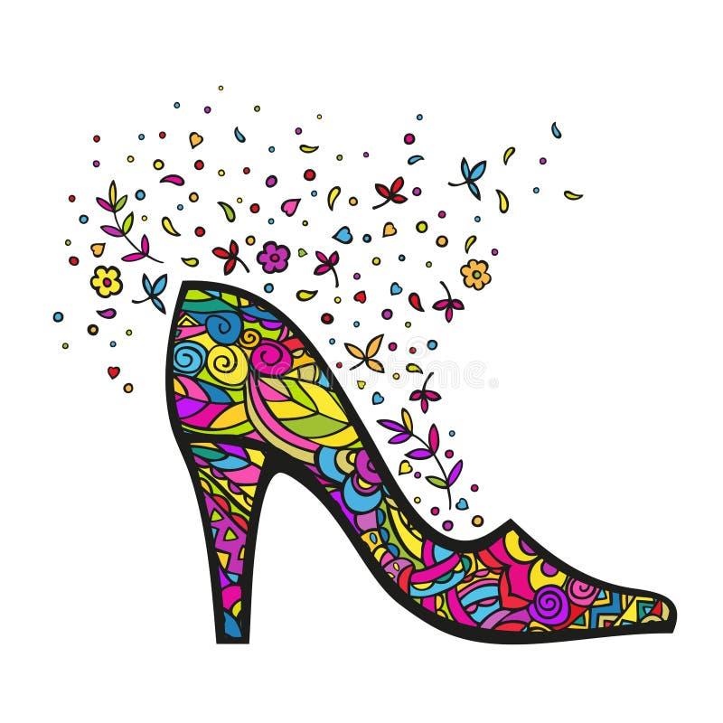 Beeldverhaal vrouwelijke schoen Kleur Doodling Vector die op witte achtergrond wordt ge?soleerd royalty-vrije illustratie