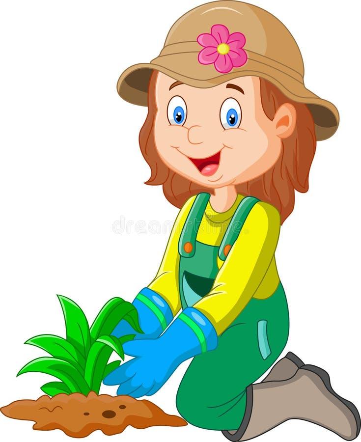 Beeldverhaal was zij installaties in de tuin stock illustratie