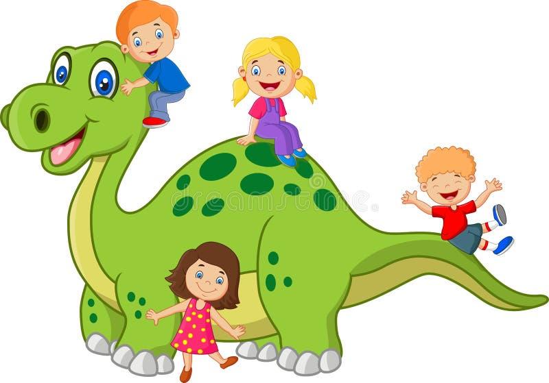 Beeldverhaal weinig jong geitje het spelen op de dinosaurus vector illustratie