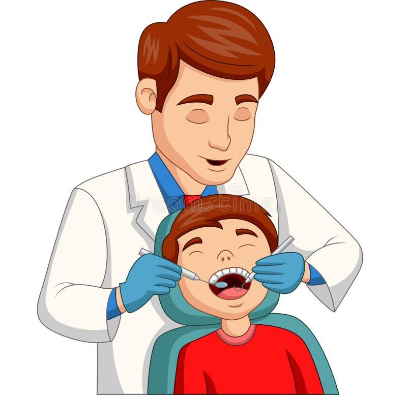Beeldverhaal weinig jongen die zijn die tanden hebben door tandarts worden gecontroleerd royalty-vrije illustratie