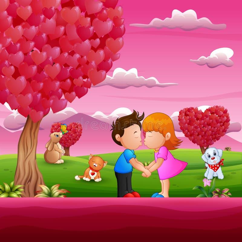 Beeldverhaal weinig jongen en meisjes het kussen in mooie roze scènes stock illustratie
