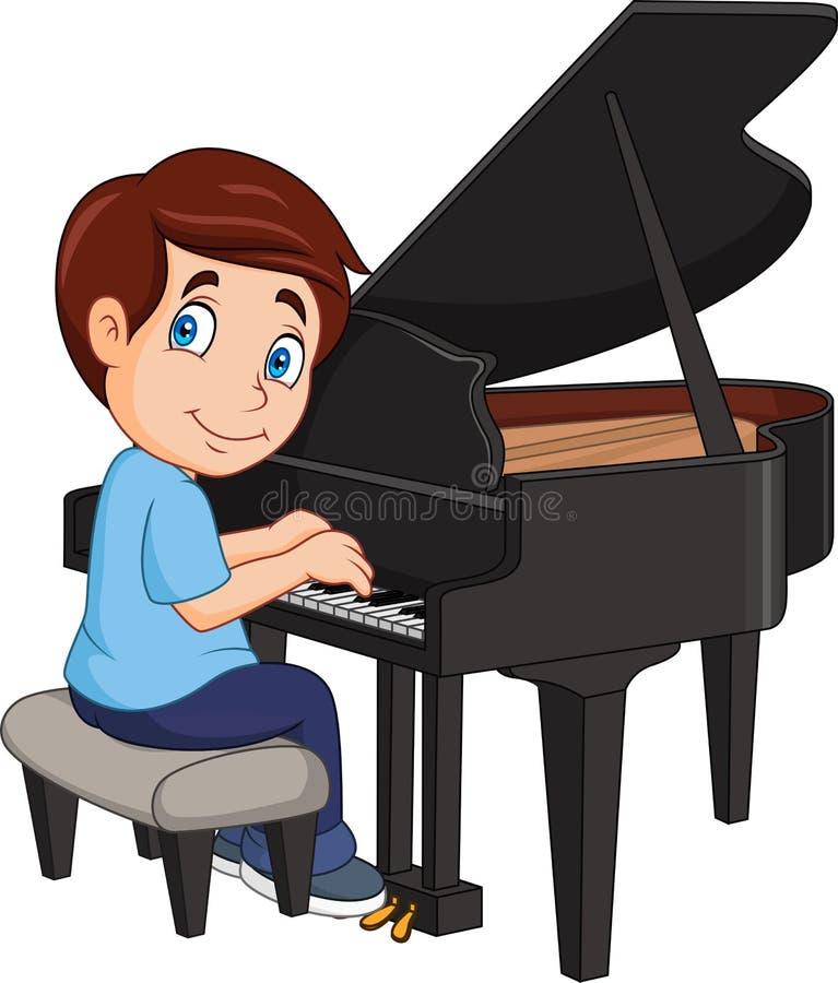 Beeldverhaal weinig jongen het spelen piano royalty-vrije illustratie