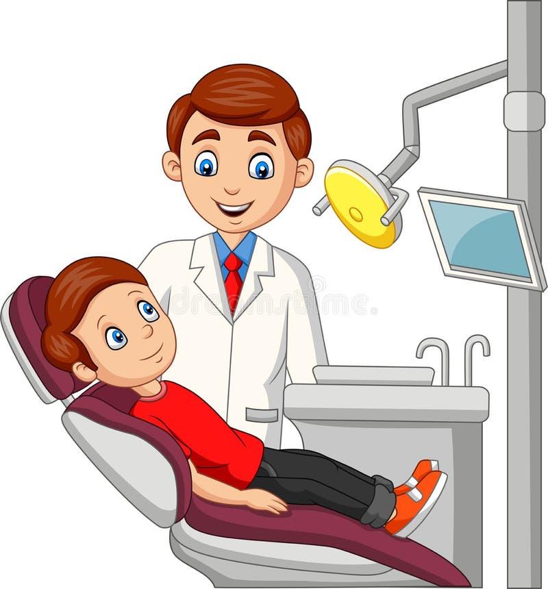 Beeldverhaal weinig jongen in het tandartsbureau royalty-vrije illustratie